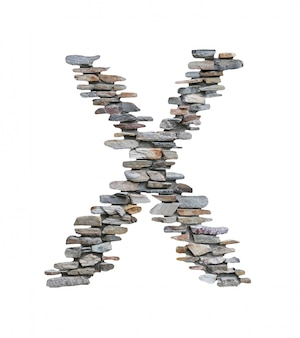 Font of x to create from stone wall isolated on white.