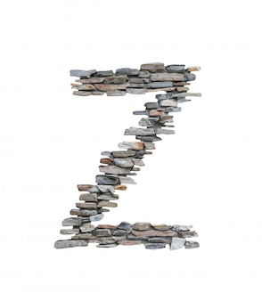 Font of z to create from stone wall isolated on white.