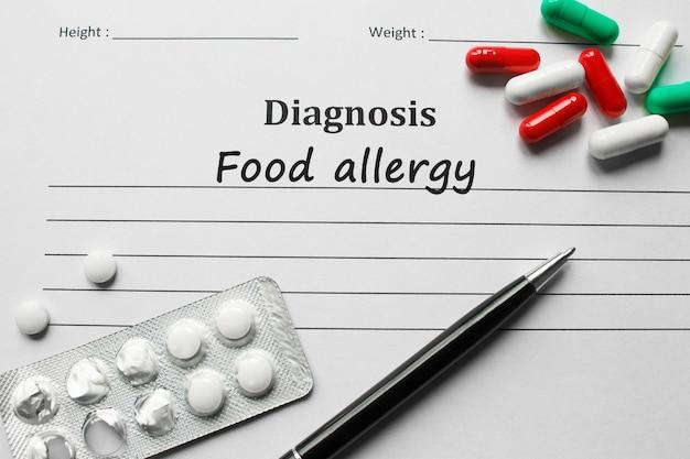 Пищевая аллергия в списке диагнозов, медицинская концепция