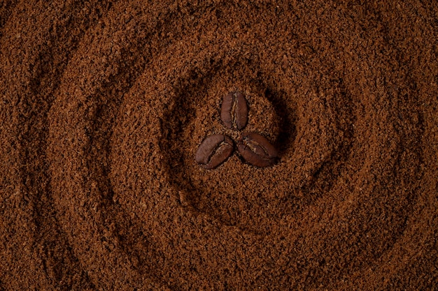 Food background, circles on coffee, with coffee beans, top view