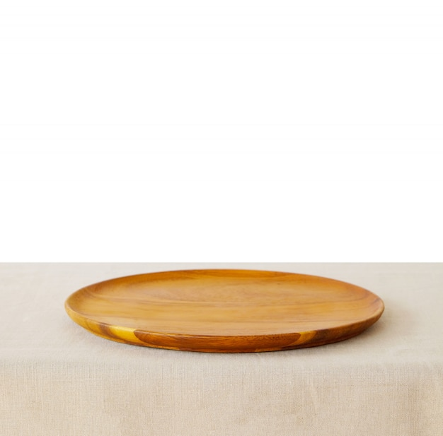 Food background, empty wooden plate, tray for kitchen product display on table isolated on white background