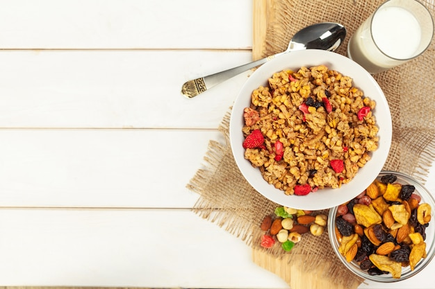 Food background of fresh baked homemade granola in bowl