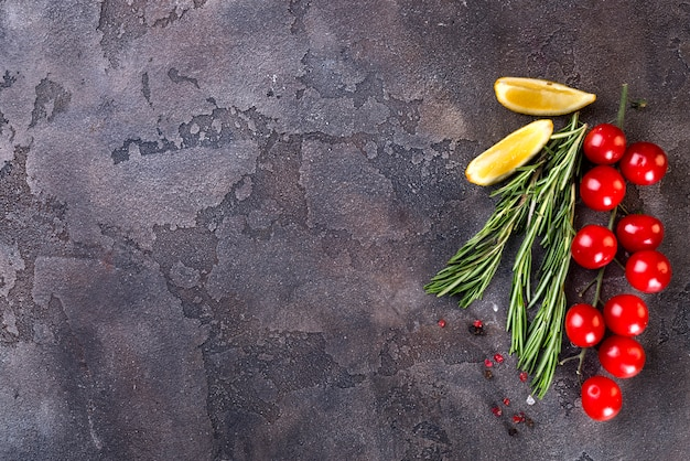 Food background with cooking ingredients
