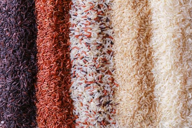 쌀의 5 행의 평면도와 음식 배경.