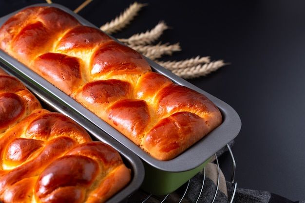 Food bakery concept fresh baked brioche braided