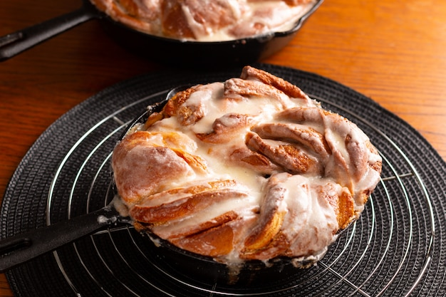 Food bakery concept fresh baked homemade cinnamon roll braided bread with copy space