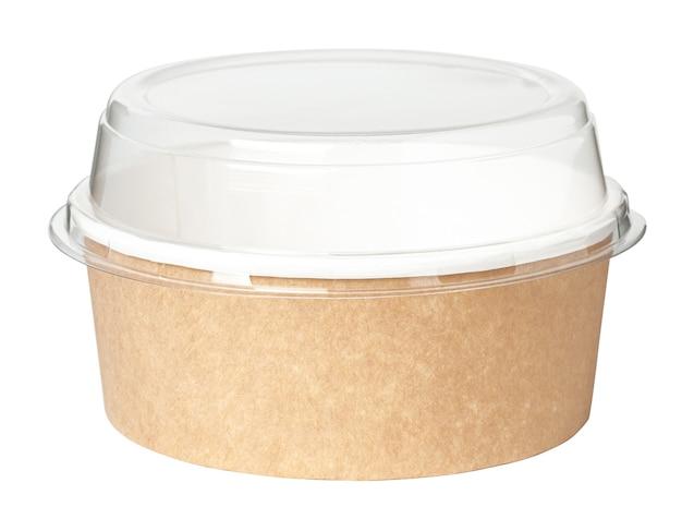 식품 상자입니다. 투명한 플라스틱 뚜껑이 있는 둥근 판지 상자. 화이트에 격리.