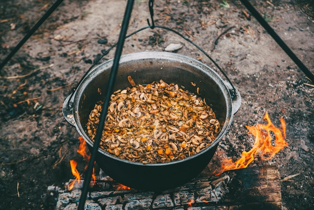 Food camfire cooking in the forest