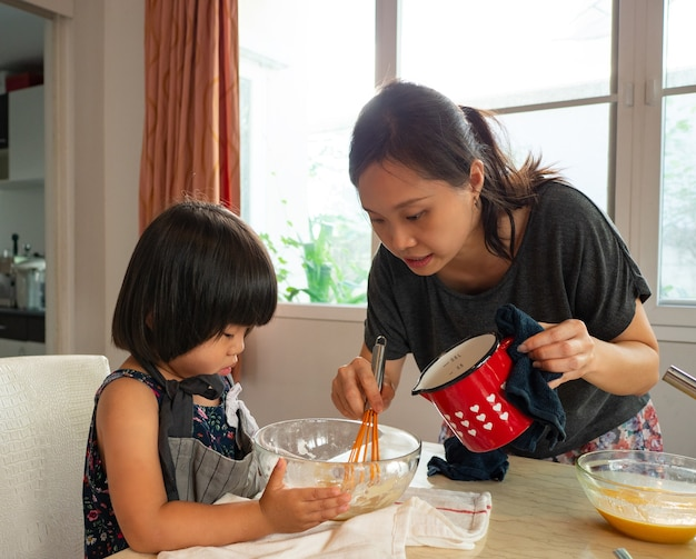Food class family in kitchen room with her kid.asian people do activity together at home.