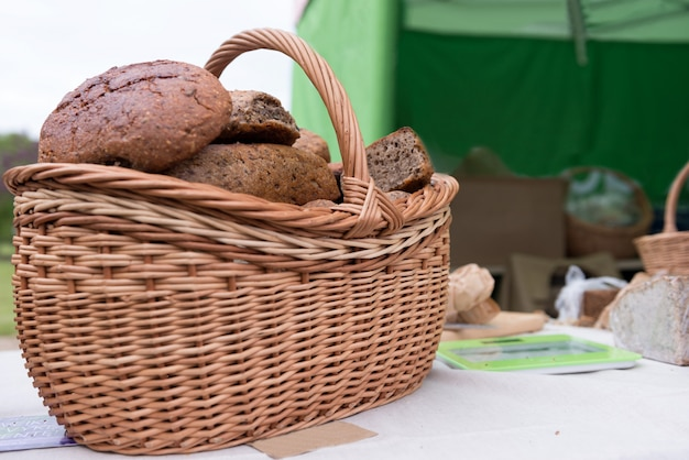 Food close-up photography. wicker basket with bread.