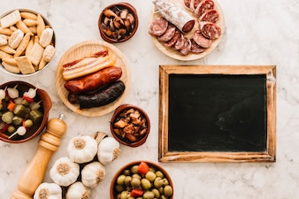 Food composition near blackboard