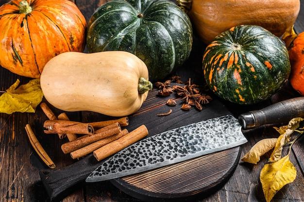 カボチャ、ナイフ、まな板を使った食品組成