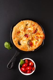 Food concept fresh baked homemade organic focaccia