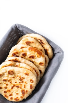Food concept homemade yogurt naan isolated
