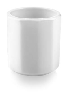 Food concept - white ceramic cup for sake (ochoko, choko) on white background