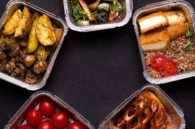 Food in containers.