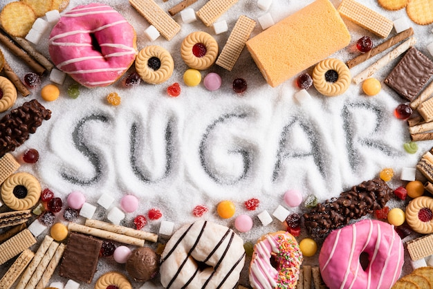 Food containing sugar. mix of sweet, abuse and addiction concept, body and dental care.