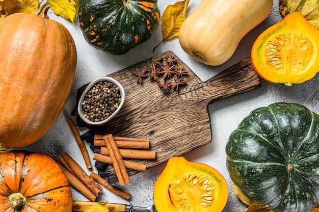 感謝祭や秋のカボチャの休日の料理の背景