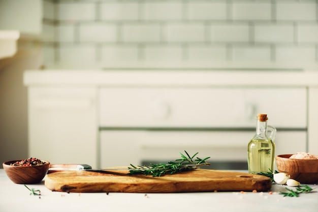 Food cooking ingredients on white kitchen design interior background with rustic wooden