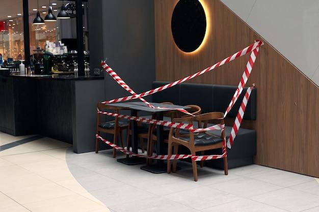 Food court closed at shopping malls during quarantine coronavirus covid-19 .