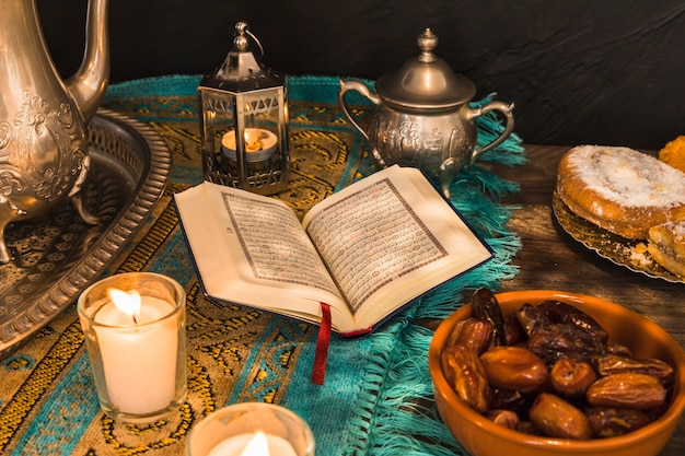 Food and decorations around quran