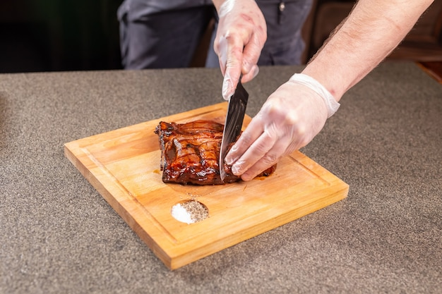 Food, delicious and craft concept - serving of grilled meat steak