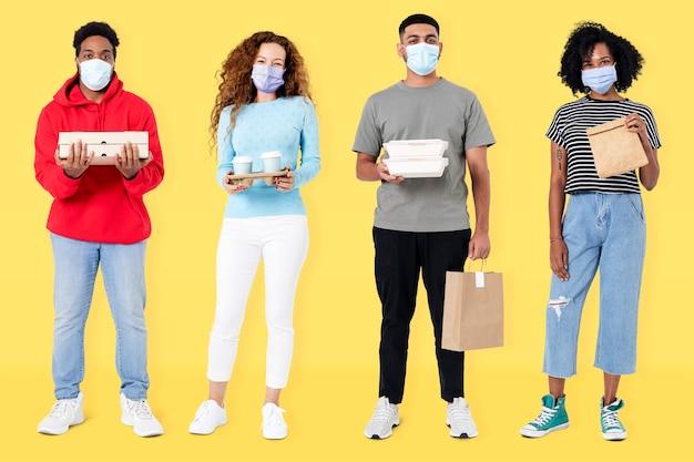 Le persone che consegnano il cibo simulano i lavori psd durante la nuova normalità