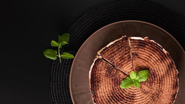 Food dessert concept homemade banoffee pie on black background