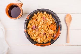 Food dish on kitchen table