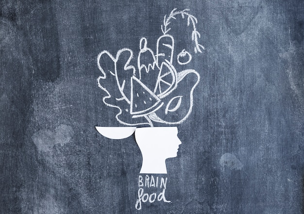 開いた頭の紙の切り抜きの上に描かれた食べ物は、テキストが黒板に描かれています