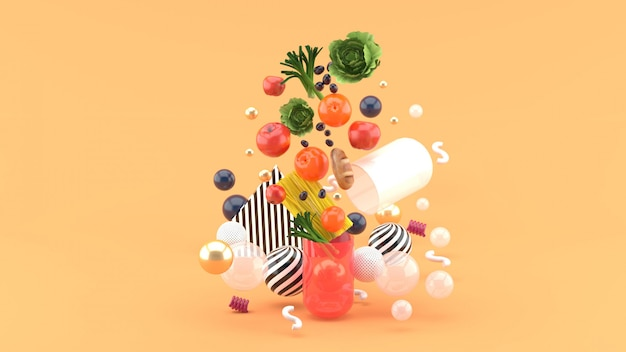 The food floats out of the capsule amidst colorful balls on the orange. 3d render