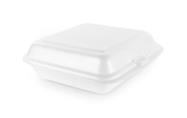 흰색 배경에 고립 된 음식 거품 상자