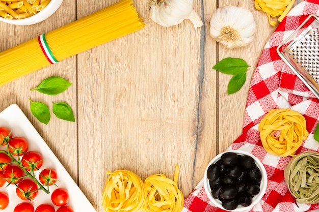 Food frame with pasta and mint