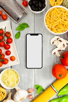 Food frame with smartphone mock-up