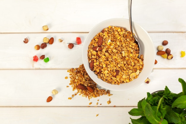 Food of fresh baked homemade granola in bowl