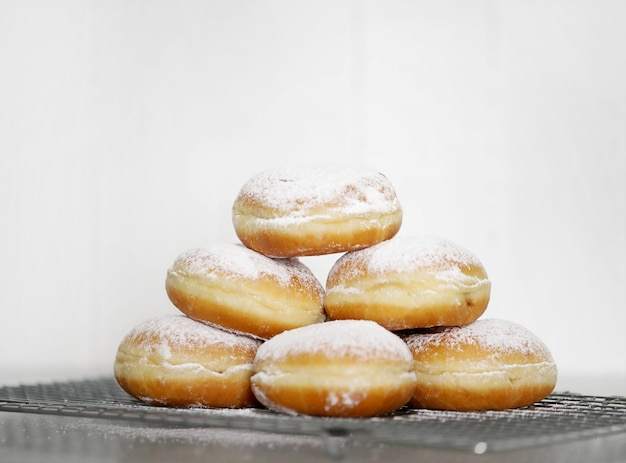 Food. freshly baked doughnuts on the table