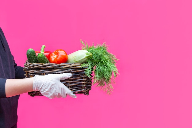 Food grocery, home delivery service with vegetables