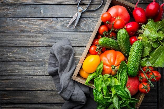食べ物、収穫、夏のコンセプト。木製のテーブルに熟した有機農家の赤いトマト、きゅうり、大根、バジルの品揃え