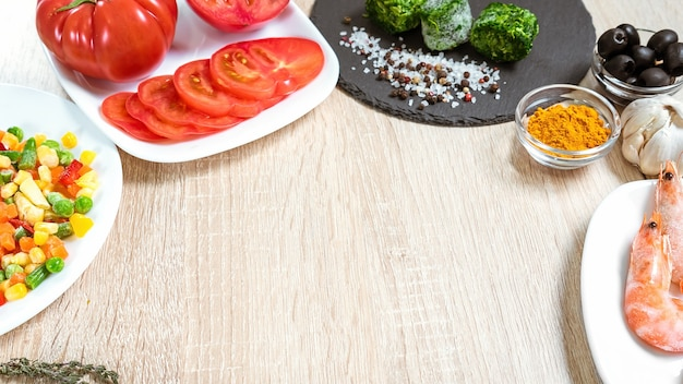 Food ingredients for cooking culinary dishes