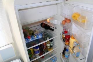 Food inside a fridge, drinks