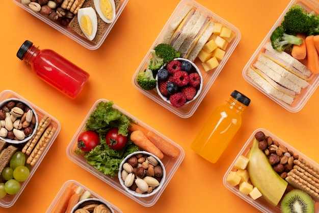 Food lunch boxes assortment top view