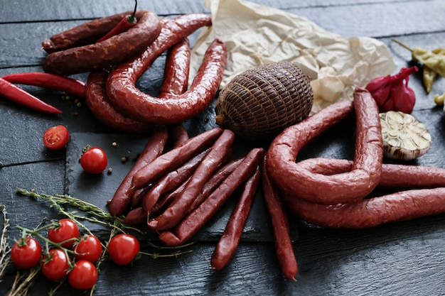 Food, meat. delicious sausage on the table
