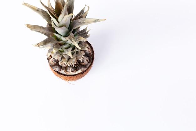 음식, 미니멀리즘, 색상, 정물 및 자연 개념 - 흰색 바탕에 신선한 파인애플과 코코넛