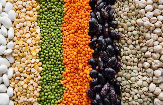 さまざまなマメ科植物で作られた食品の自然な表面