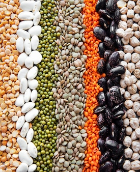 Food natural surface made with different legumes