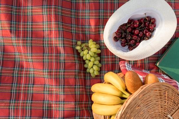 ピクニック毛布の上に食べ物