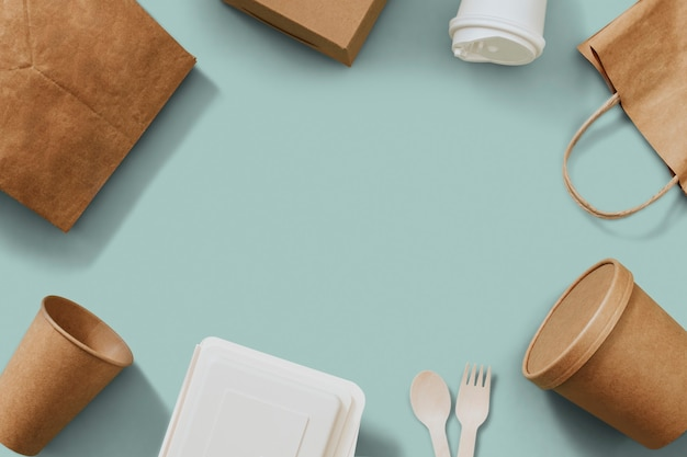 Food packages frame in delivery concept