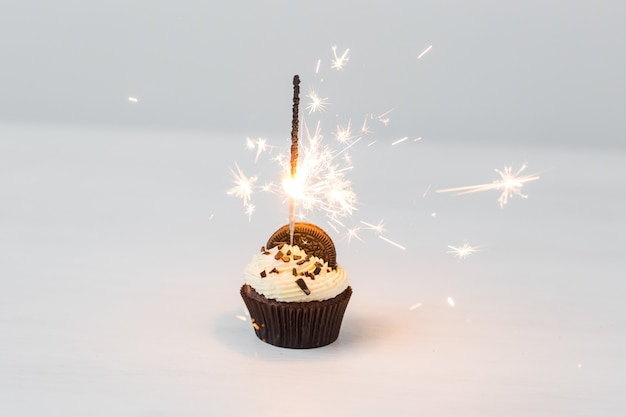 Food, party and holiday concept - birthday cupcake with sparkler