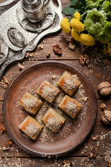 Food pastry background. turkish traditional baklava dessert and tea concept