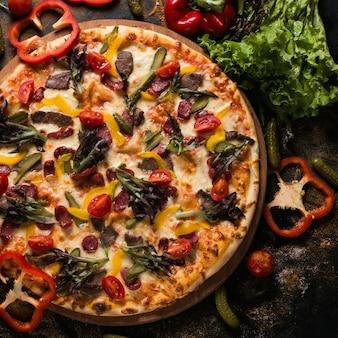 음식 사진 예술. 피자 레시피. 레스토랑 메뉴 개념